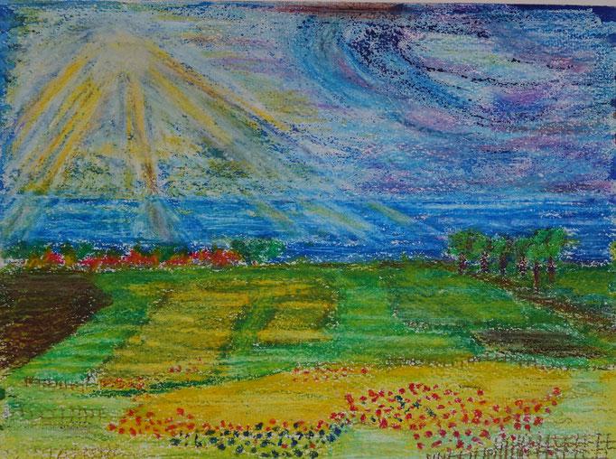 Nr.-L12: Herbstliches Land, Ölpastell, A 3, Papier