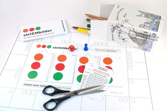 KUNSTzeich(n)en - strICHbilder | SPIELplan mit SPIELelementen
