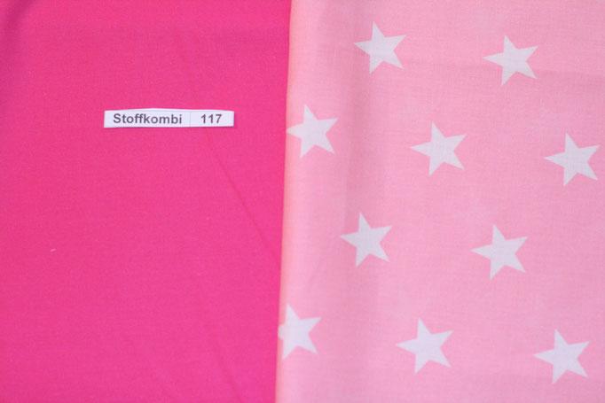 Stoffkombi 117 (Pink Uni-Rosa mit weíßen Sternen)