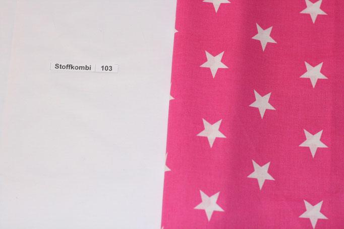 Stoffkombi 103 (Weiß Uni - Pink mit weißen Sternen)
