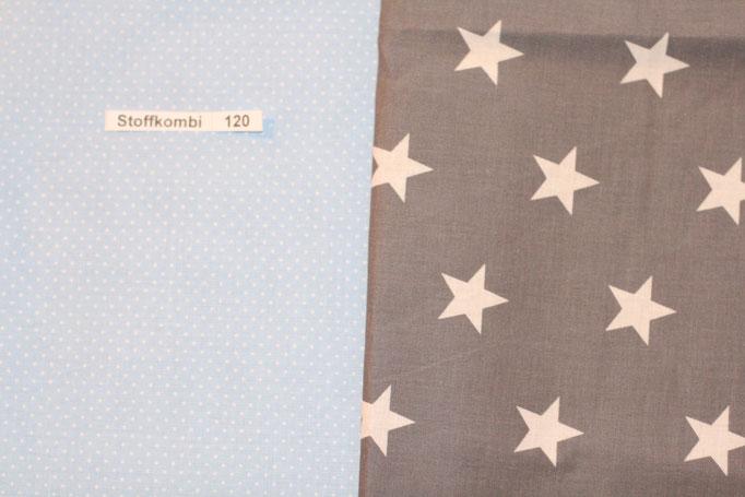 Stoffkombi 120 ( Hellblau mit kleinen weißen Punkten- Grau mit weißen Sternen)