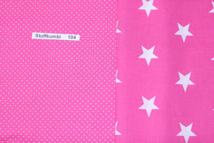Stoffkombi 104 (Pink mit Punkte Klein -  Pink mit weißen Sternen)