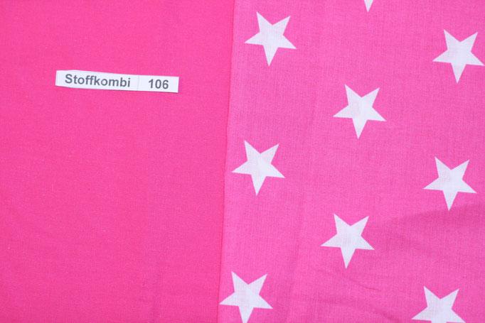 Stoffkombi 106 ( Pink Uni -Pink mit weißen Sternen)