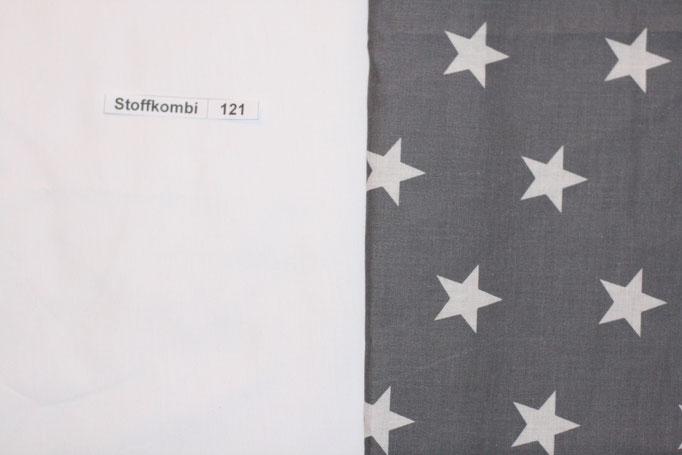 Stoffkombi 121 (Weiß Uni - Grau mit weißen Sternen)