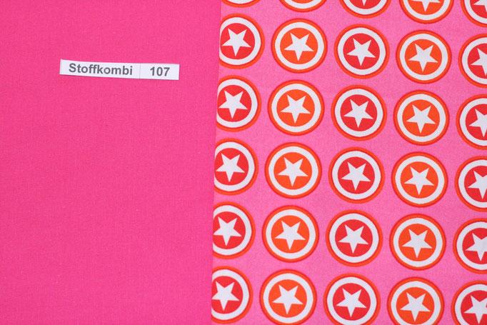 Stoffkombi 107 (Pink Uni - Pink mit Sternen im Kreis)