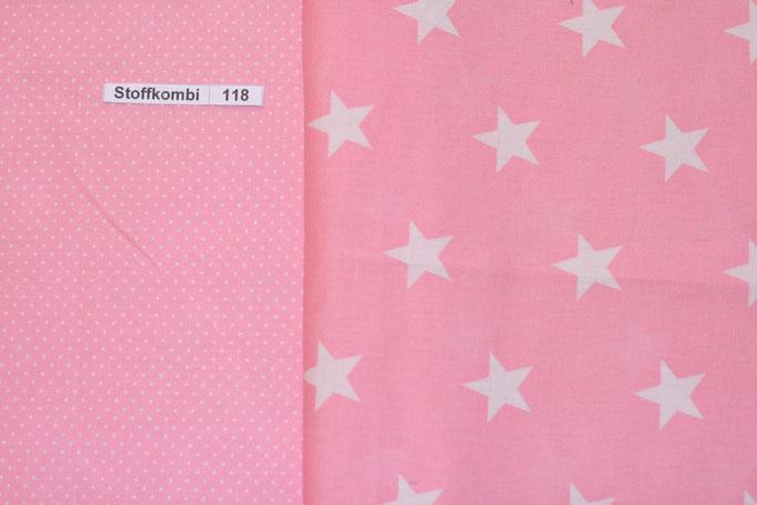 Stoffkombi 118 (Rosa mit Punkte Klein- Rosa mit weíßen Sternen)