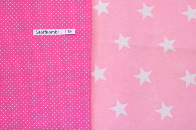 Stoffkombi 119 (Pink mit Punkte Klein-Rosa mit weíßen Sternen)