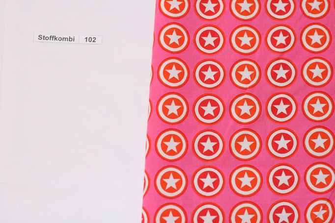 Stoffkombi 102 (Weiß Uni - Pink mit Sternen im Kreis)