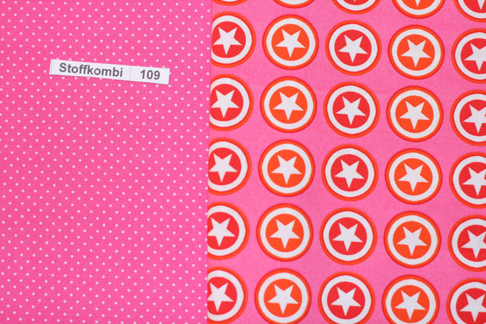 Stoffkombi 109 (Pink mit Punkte Klein- Pink mit Sternen im Kreis)
