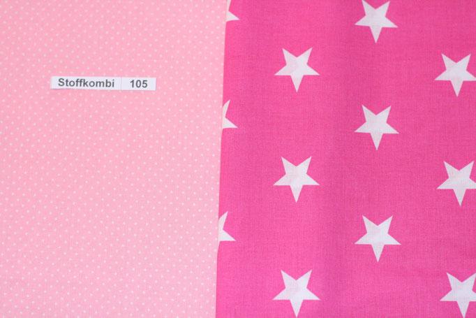 Stoffkombi 105 (Rosa mit Punkte Klein -  Pink mit weißen Sternen)