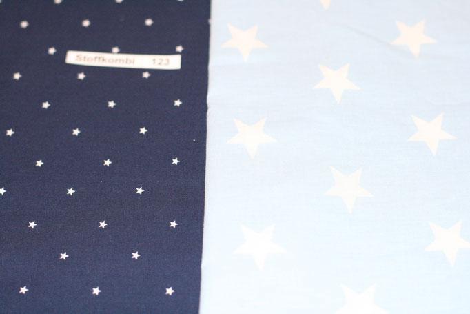 Stoffkombi 123 ( Dunkel Blau mit Sterne klein - Hellblau mit Sterne Groß)