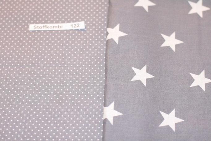 Stoffkombi 122 (Grau mit Punkte Klein - Grau mit weißen Sternen)