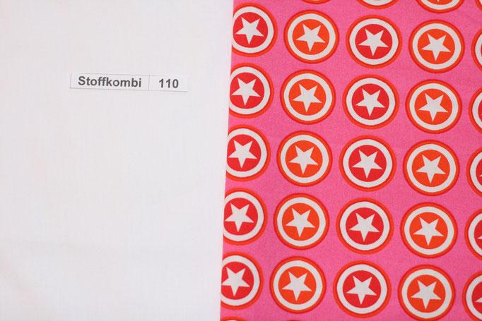Stoffkombi 110 (Wieß Uni - Pink mit Sternen im Kreis)