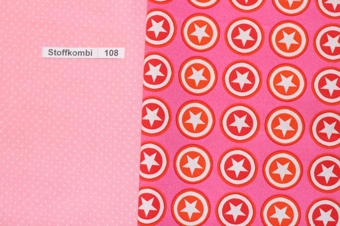 Stoffkombi 108 (Rosa mit Punkte Klein - Pink mit Sternen im Kreis)