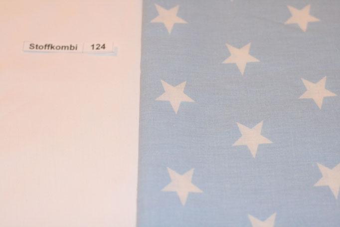 Stoffkombi 124 (Weiß Uni - Hellblau mit Sterne Groß)