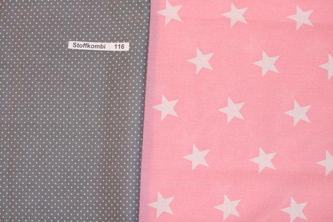 Stoffkombi 116 (Grau mit Punkte Klein-Rosa mit weíßen Sternen)