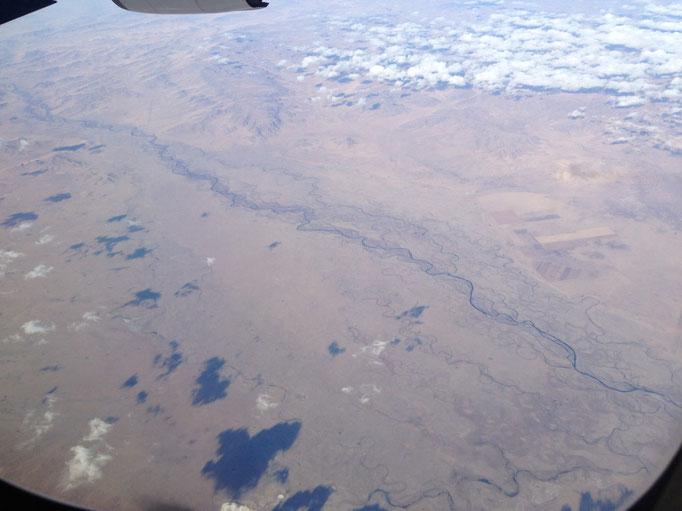 Flusslauf in der Mongolei von oben