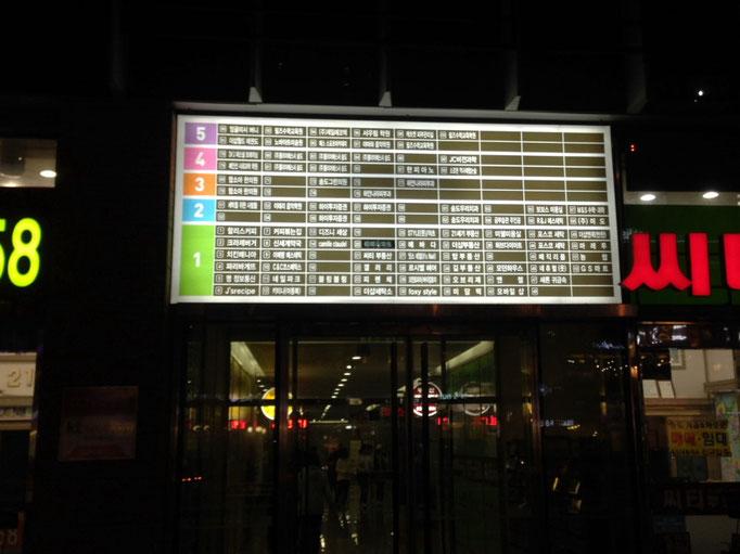 Lageplan der Geschäfte im Shoppingcenter