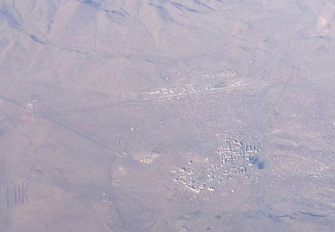Dorf in der Mongolei von oben