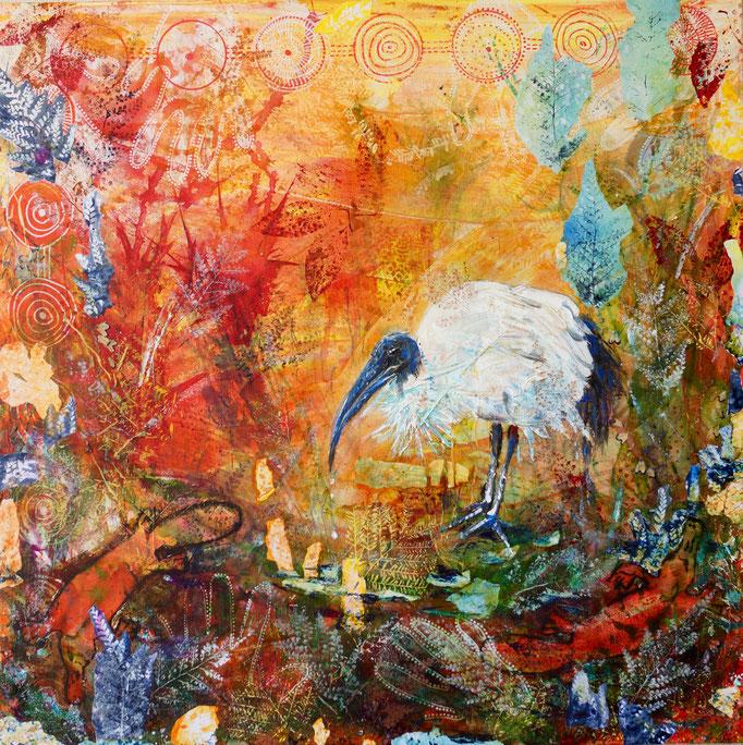 """Acryl, Collage, Mischtechnik auf Leinwand 80x80   """"Ibis"""" 2015  , Australienserie  Privatsammlung"""