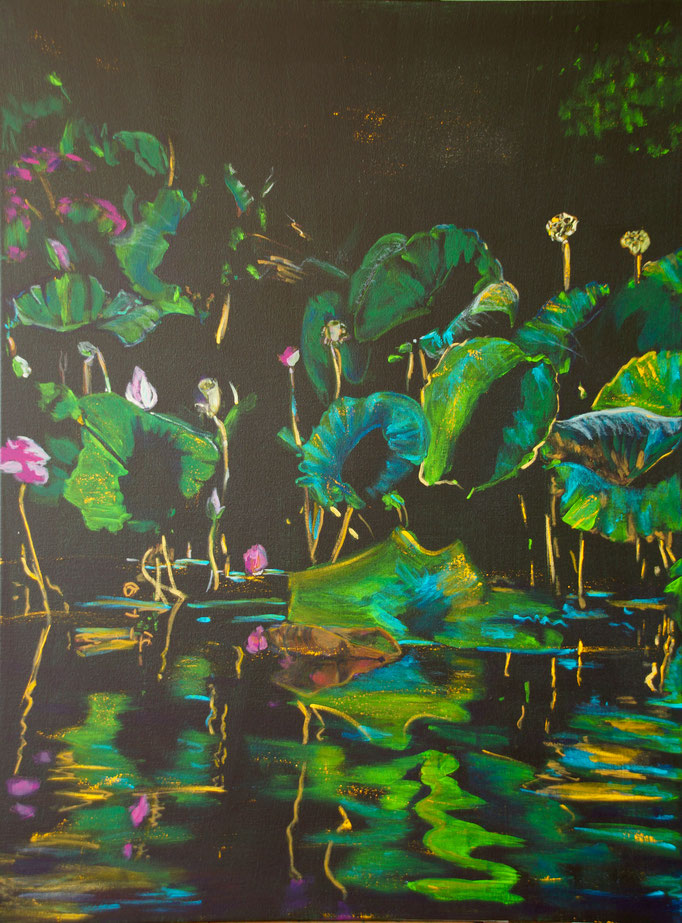"""Lotus"" Yellow Water 2015 - Acryl auf Leinwand 100x76"