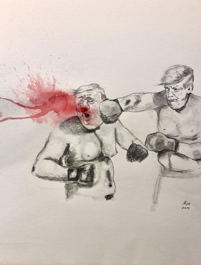 """Bleistift und Tinte auf Papier 42x56  """"knocking out by himself""""  2019"""
