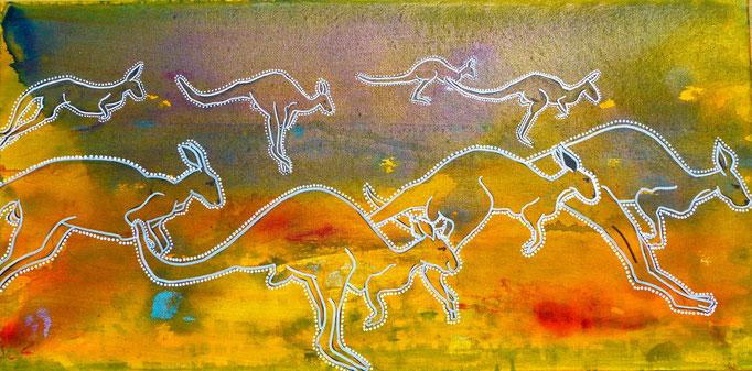 """Acryl auf Leinwand 80x40 """"Känguruh's 1""""  2015, Australienserie"""