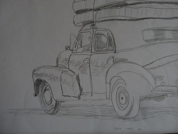 Bleistift auf Papier Cuba Car 3