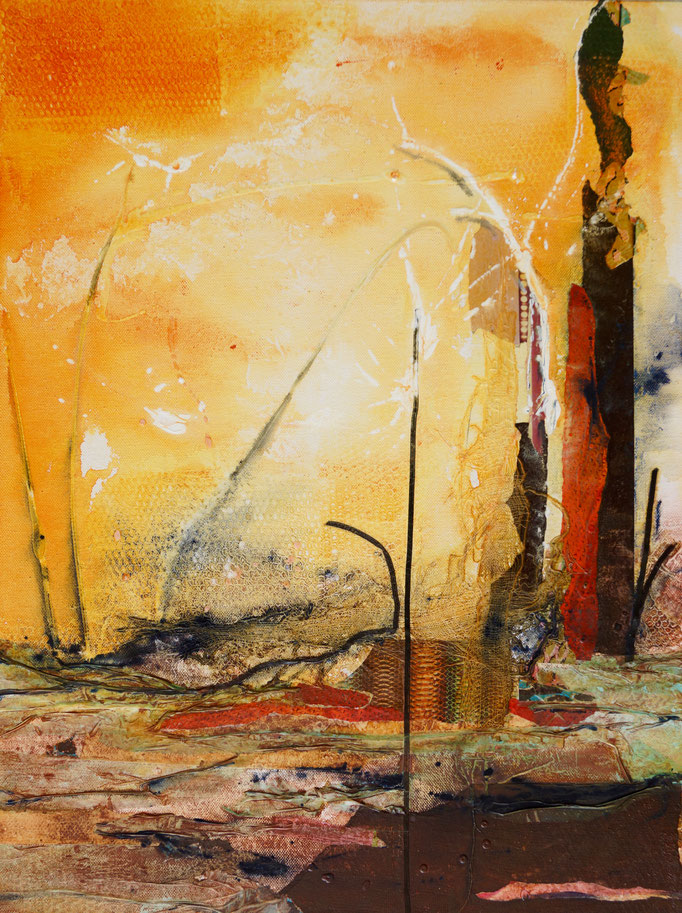 """Acryl und Collage auf Leinwand 62x46  """"Outback"""" 2015, Australienserie"""