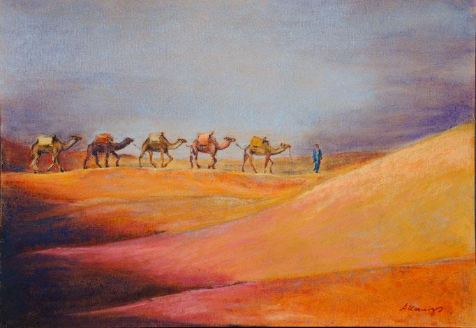 """Pastellkreidezeichung 65x50  Marokko """"Erg Sherry"""" 2011  Privatsammlung"""