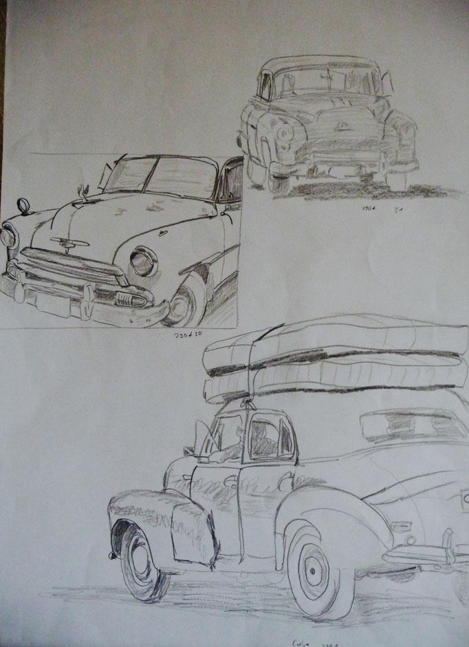 Bleistift auf Papier Cuba Cars 1