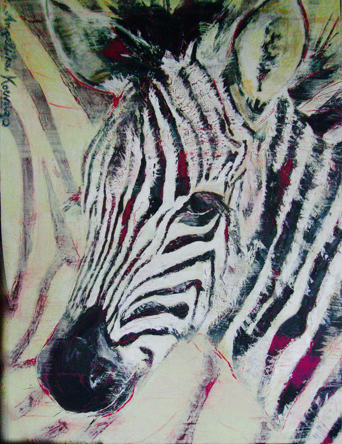 "Acryl gespachtelt auf Leinwand 60x80  ""Zebrajunges"" 2008"