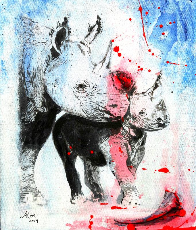 "Acryl und Ink auf Leinwand 30x25 ""Profitgier"" 2019"