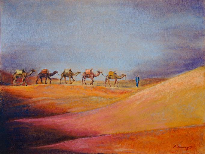 """Pastellkreide auf Papier 65x50  """"Erg Shebby"""" 2011, Marokko Privatsammlung"""