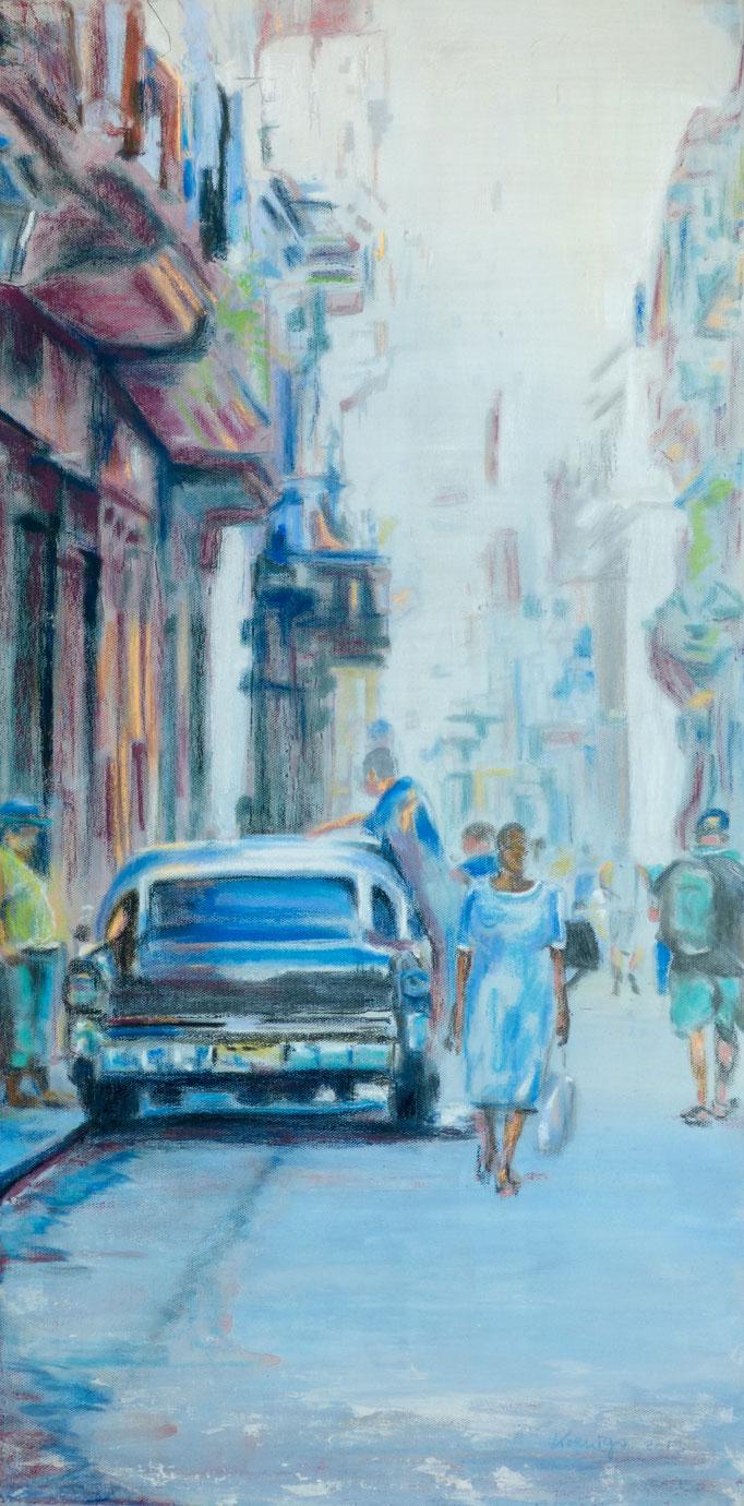 """""""Car-wash"""" Cuba 2013 Mischtechnik auf Leinwand 40x80"""