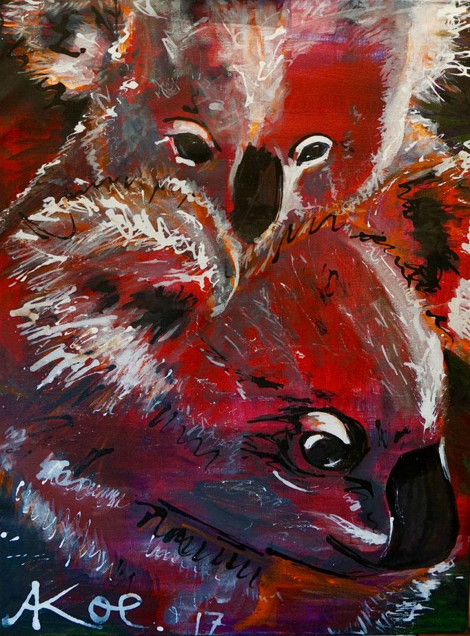 "Acryl und Ink auf Leinwand 60x80 "" Koala's 2"" 2017, Australienserie"