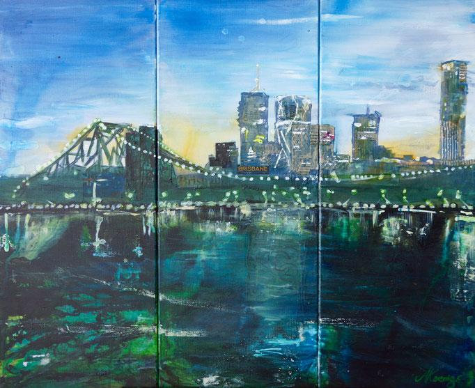 """""""Brisbane"""" 2015 Triptichon - Mischtechnik, Acryl und Collage auf 3 Leinwänden zu je 76x30"""