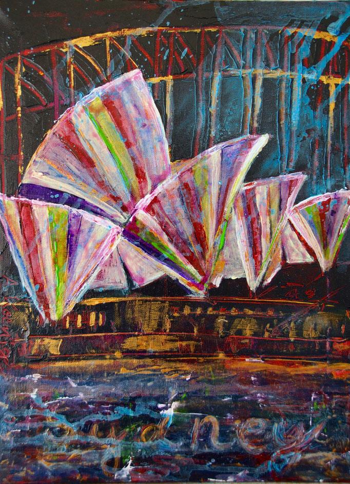 """Acryl auf Leinwand 40x30 """"Sydney"""" 2015, Australienserie, Privatsammlung"""