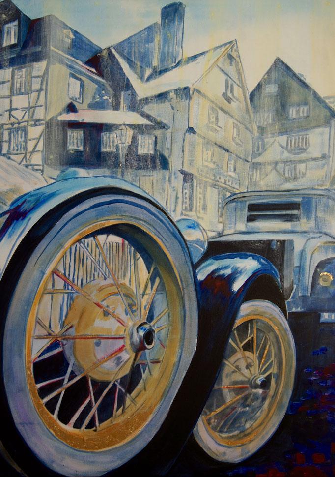 """Acryl und Blattgold auf Leinwand 60x80  """"Eifel Oldtimer"""" Monschau 2011"""