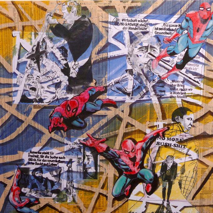 """Collage auf Leinwand 50x50 """"Change"""" 2008"""