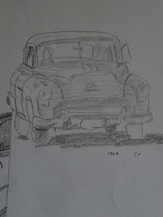 Bleistift auf Papier Cuba Car 2