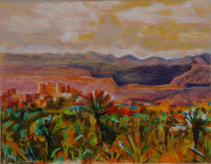 """Pastellkreide auf Papier 65x50  """"Strasse der Kasbahs"""" 2010, Marokko 4,5 Dicke"""