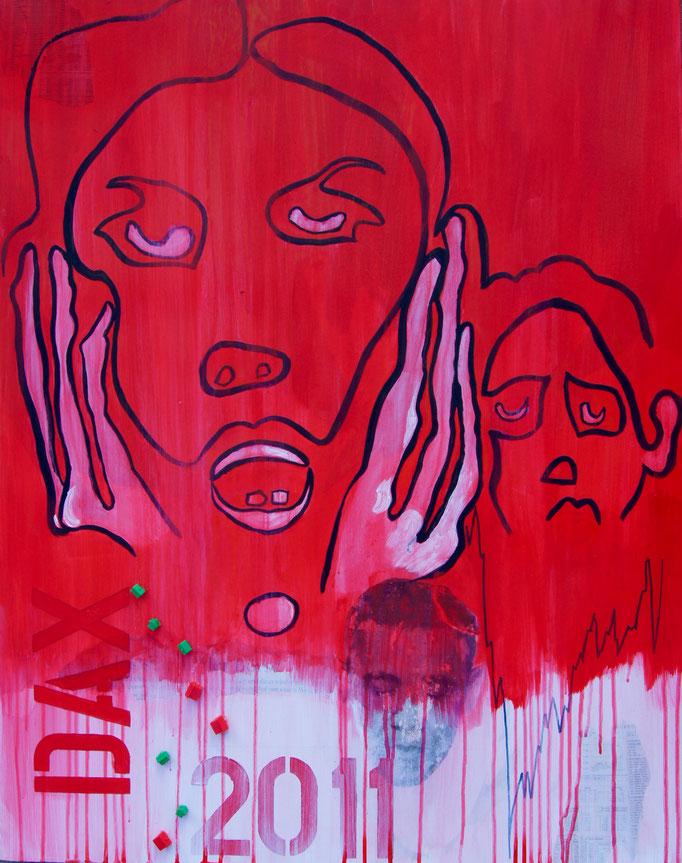 """Acryl und Collage  auf Leinwand 90x70 """"Immobiliencrash"""" 2011 Hommage an Sato, Privatbesitz"""