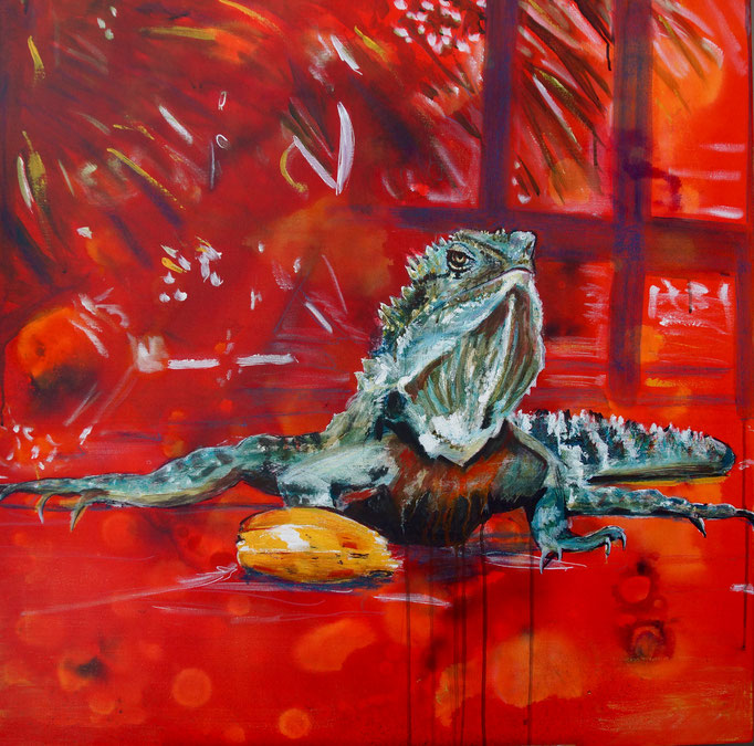 "Acryl auf Leinwand 90x90  ""Freshwater Dragon"" 2015,  Australienserie"