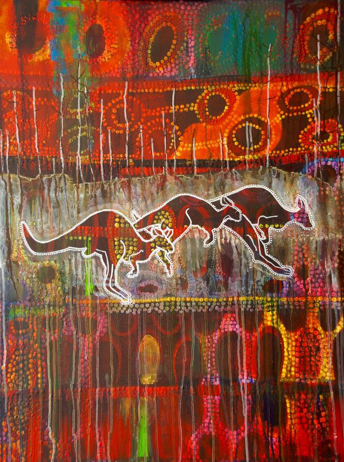"""Acryl auf Leinwand 100x75,5 """" Traumzeit 2"""" 2015, Australienserie"""