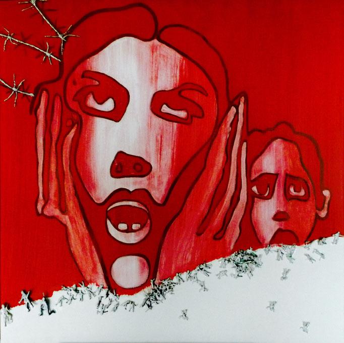 """Acryl und Collage auf Leinwand 80x80 """" Krieg"""" 2007 Hommage an Sato , Privatbesitz"""