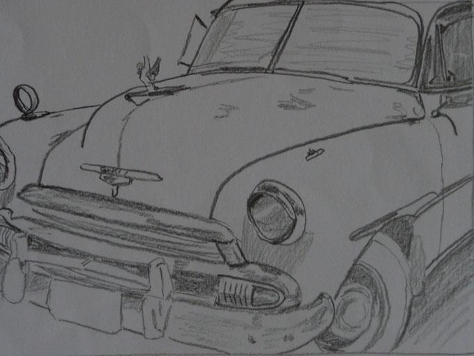 Bleistift auf Papier Cuba Car 4