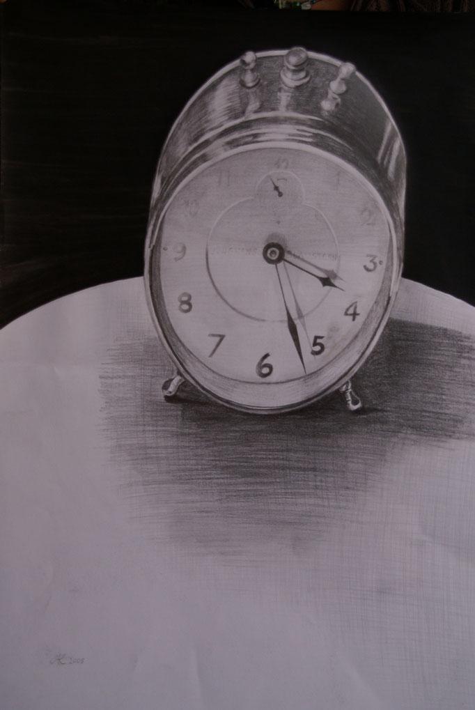 """Bleistiftzeichnung 42x59   """"Wecker"""" 2005"""