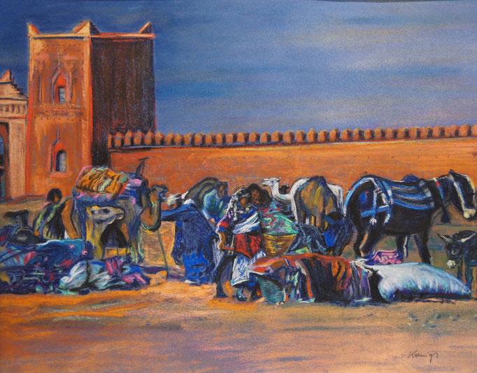"""Pastellkreide auf Papier 65x50 """"Ankunft der Karawane"""" 2010, Marokko"""