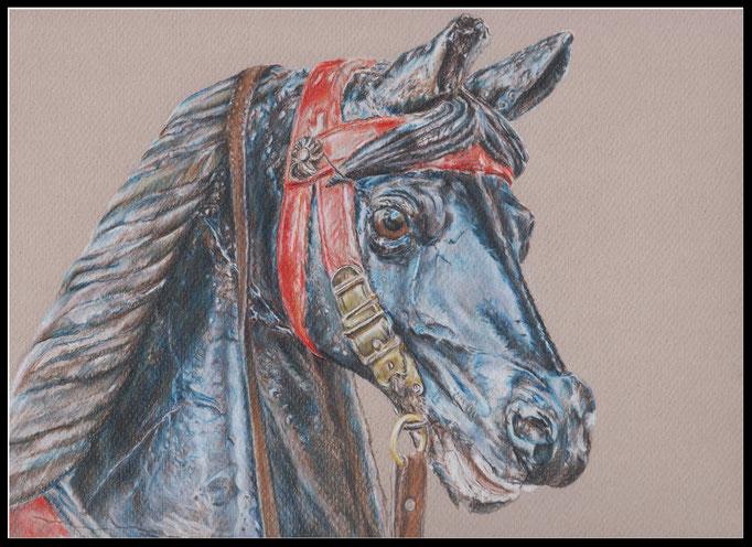 Zeichnung, Karusselpferd, Farbstift Zeichnung, coloured pencil drawing